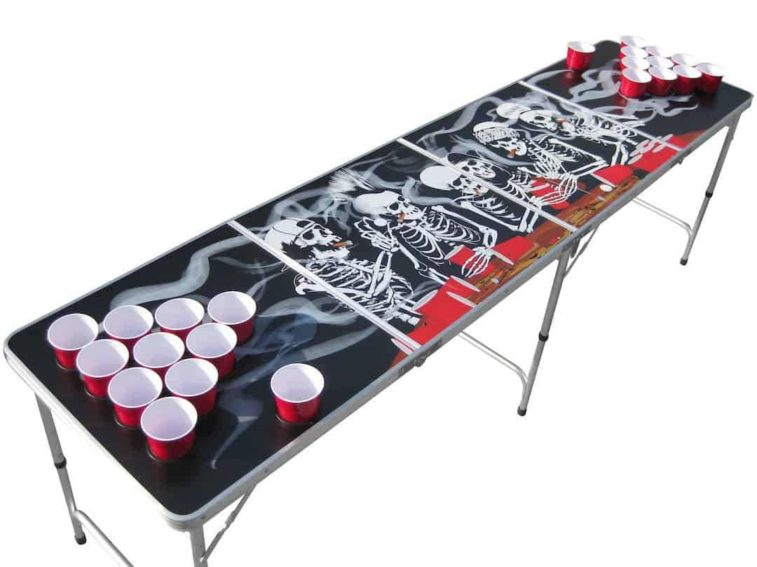 Beer pong table dimensions - The Pong Squad Bones Skeleton Beer Pong Table